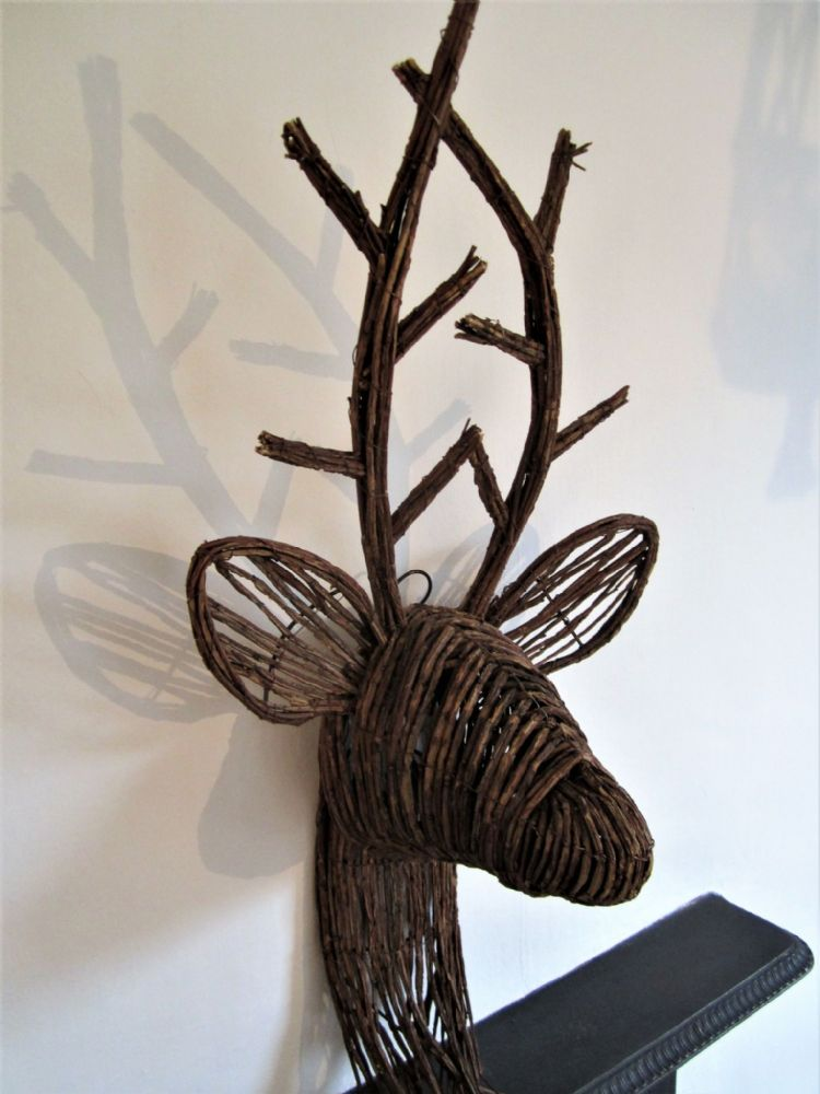 Large Rattan Deer Stag Trophy Head Wall Decor